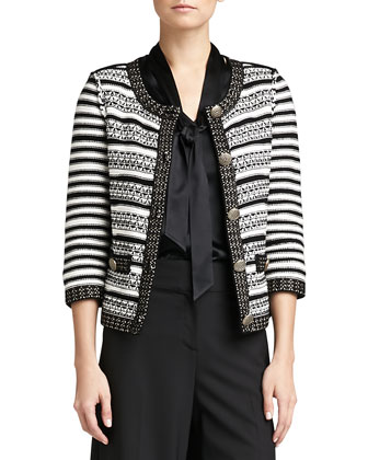 Stripe Knit 3/4-Sleeve Jacket, Long-Sleeve V-Neck Tie Blouse & Modern ...