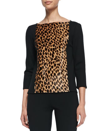 Knit Bateau Neck 3/4-Sleeve Top, Caviar/Multi