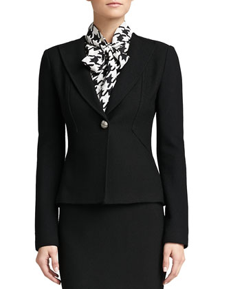 Boucle Knit Collar Jacket, Caviar