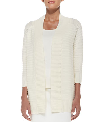 Stripe-Knit 3/4-Sleeve Cardigan, Sleeveless Milano Knit Contour Tank, Crepe ...