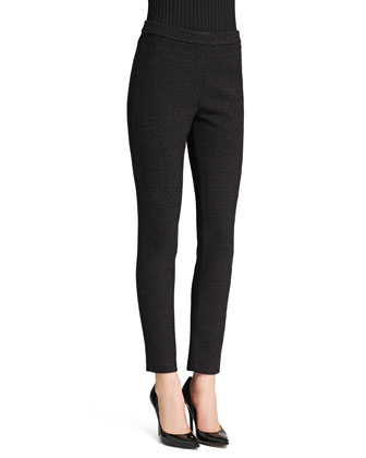 Alexa Fit Knit Ankle Pants, Caviar/Walnut