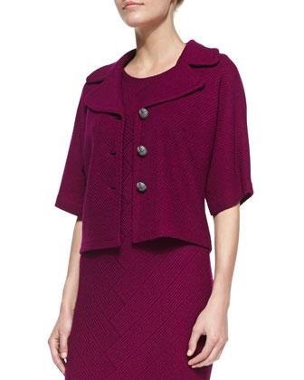 Chevron Twill Knit Elbow-Sleeve Jacket, Boysenberry