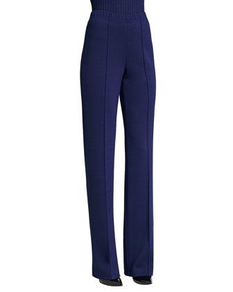 Knit Pintuck Straight Pants, Vivid Denim