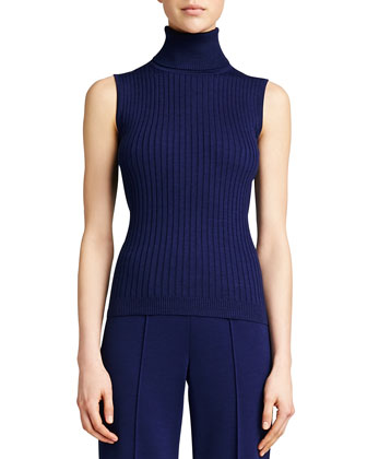 Ribbed Knit Turtleneck Shell, Vivid Denim