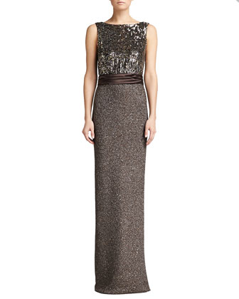 Sparkle Paillette Gown, Walnut/Multi