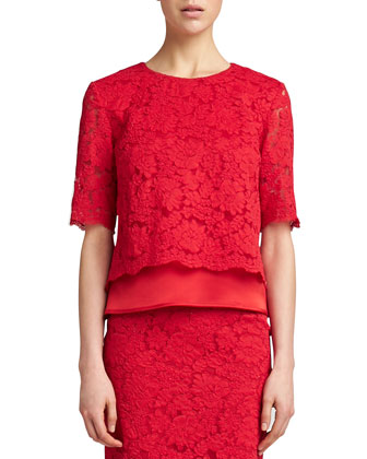 Florentine Lace Elbow-Sleeve Top, Venetian Red