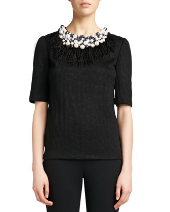 Crocodile Jacquard Knit Sweater, Caviar Shimmer