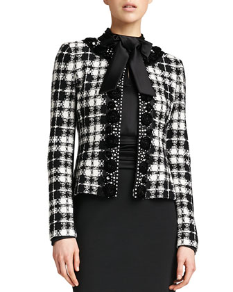 Plaid Knit Tailored Jacket & Liquid Satin Tie-Neck Blouson Dress