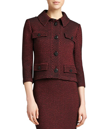 Stripe Knit 3/4-Sleeve Jacket, Caviar/Venetian