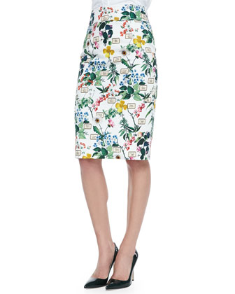Basic Button-Front Shirt & Botanical Printed Pencil Skirt