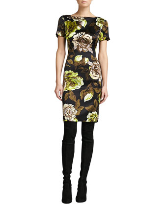 Tuscan Rose-Print Silk Dress, Caviar