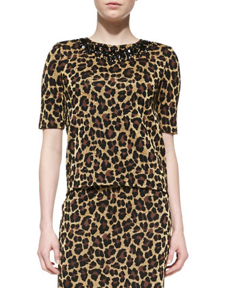 Leopard Knit Elbow-Sleeve Top, Caviar/Multi
