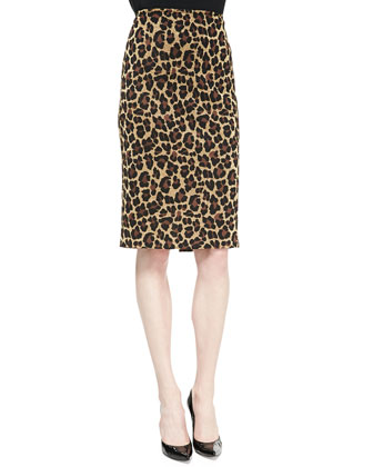Leopard Knit Elbow-Sleeve Top & Pencil Skirt