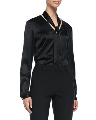 Long-Sleeve V-Neck Tie Blouse, Caviar