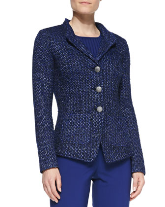 3-Button Blazer, Caviar/Blue/Multi