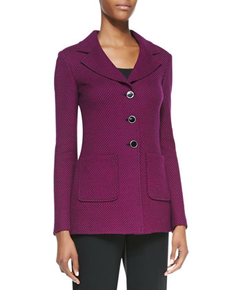 3-Button Blazer, Caviar/Boysenberry