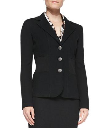 3-Button Blazer, Spotted Sleeveless Tie-Neck Blouse & Pencil Skirt