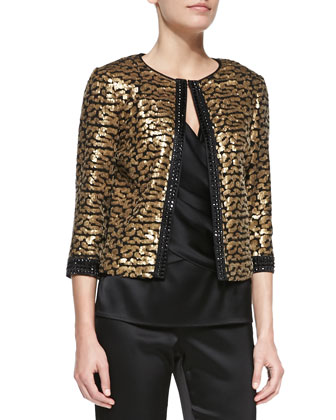 Short Sequined Patterned Topper Jacket, Sleeveless V-Neck Wrap Twist Blouse ...