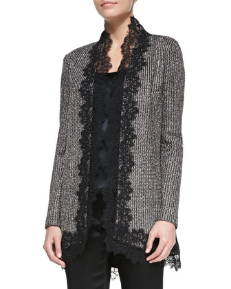 Long Lace-Trim Cardigan, Caviar/Multi