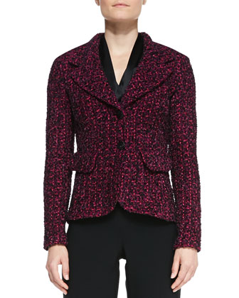 2-Button Blazer with Pockets, Long-Sleeve V-Neck Tie Blouse & Crepe ...