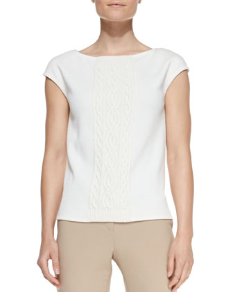 Cap-Sleeve Knit Tee, Cream