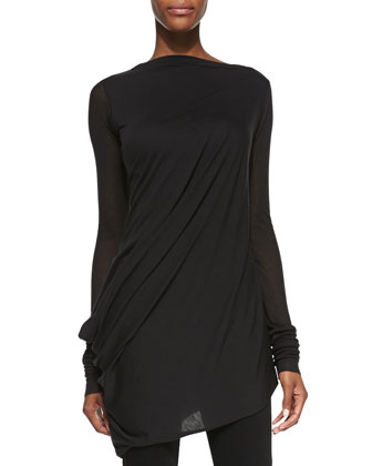 Slub Asymmetric Long-Sleeve Tee