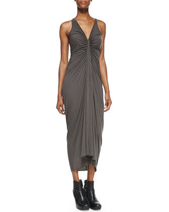 V-Neck Ruched-Center Dress