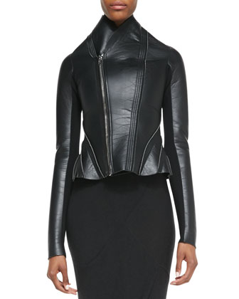 Asymmetric Faux-Leather/Ponte Flared Jacket & Heavy Jersey Draped Faux-Wrap ...