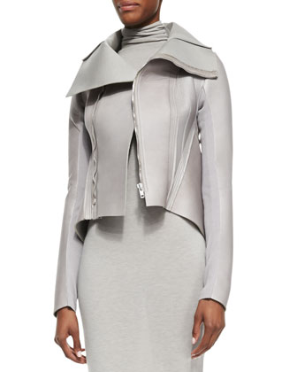High-Neck Leather Jacket, Pearl