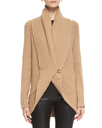Merion Chunky-Knit Wool-Cashmere Cardigan, Audrey Long-Sleeve Knit Top & ...