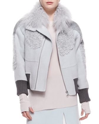 Mixed-Fur High-Collar Bomber Jacket