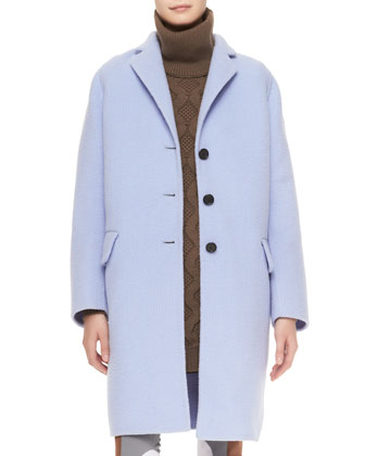 3-Button Alpaca-Blend Coat, Turtleneck Cashmere Knit Shirtdress & ...