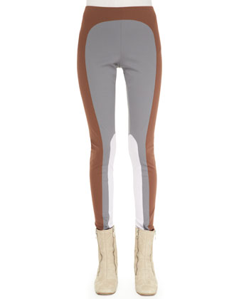 Colorblock Leggings, Gray/Cocoa/Lilac
