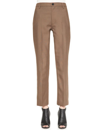 Slim Ankle Pants with Topstitch Detail