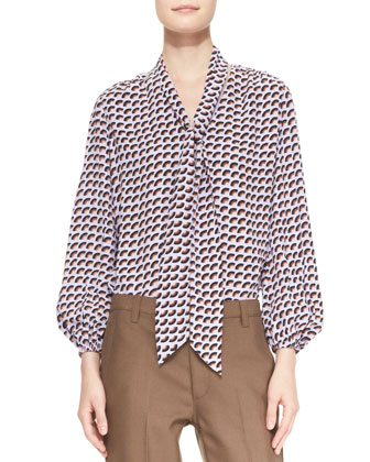 Long-Sleeve Printed Tie-Front Blouse & Slim Ankle Pants with Topstitch Detail
