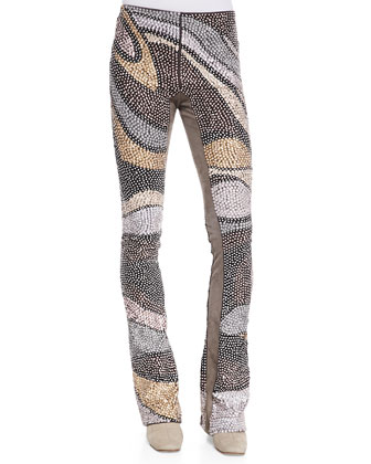 Wool Sequin Wave Flared-Leg Pants