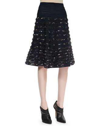 Ribbon Flared Midi Skirt, Navy/Chocolate