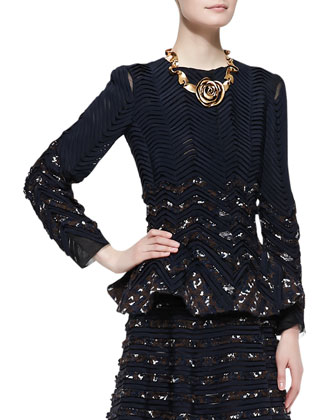 Long-Sleeve Ribbon Jacket, Navy/Chocolate