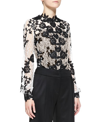 Long-Sleeve Embellished Lace Blouse