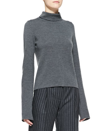 Pinstripe Puffer Vest with Fur Collar, Long-Sleeve Turtleneck & Wide-Leg ...