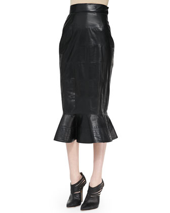 Dolman-Sleeve Cable Sweater and Leather Midi Skirt with Peplum Flare