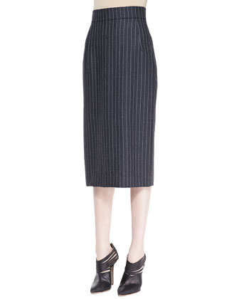 Midi Pinstriped Pencil Skirt, Charcoal