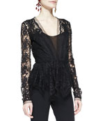 Long-Sleeve Deep-V Lace Top