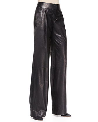 Wide-Leg Leather Trousers, Black