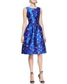 Sleeveless Rose-Print Dress