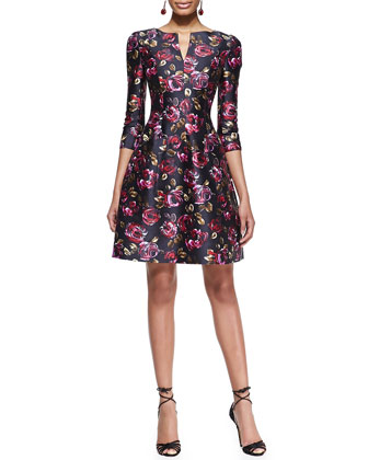 3/4-Sleeve Rose-Print Dress
