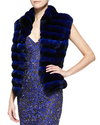 Chinchilla Fur Vest, Midnight Navy