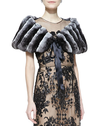 Chinchilla Fur Stole with Ribbon & Embroidered Lace Gown