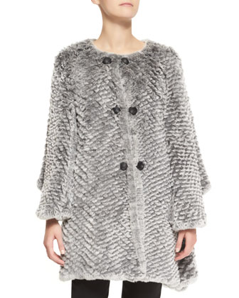 Ombre Rabbit Fur Cape Jacket