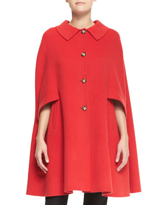 Button-Front Wool Cape